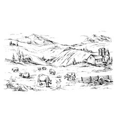Rural landscape with cows and farm mountain vector