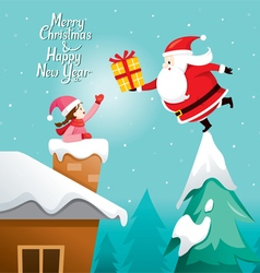 Santa Claus Giving Gift To Girl vector