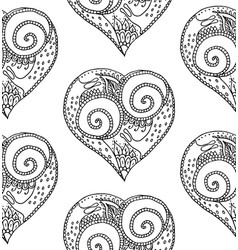 seamless pattern from hand drawing black heart vector image
