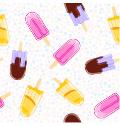 seamless sweet pattern with popsicles in cartoon vector image