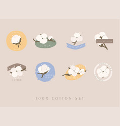 Set cotton labelstags hand drawn typographic vector