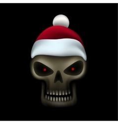 Skull in santa cap vector