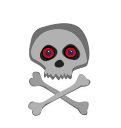 skull with red eye and cross bones isolated on vector image