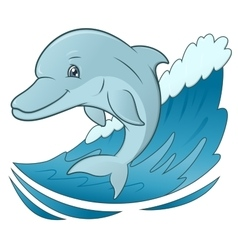 Smiling dolphin jumping 4 vector image