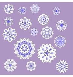 snowflake stickers set vector image