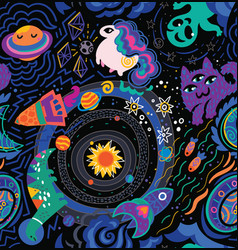 space galaxy childish seamless pattern vector image