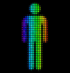 Spectral colored pixel man user icon vector