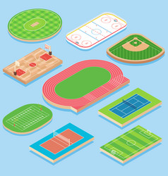 Sport field flat isometric icon set vector