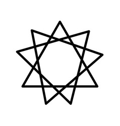 Star nine pointed line style icon vector