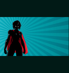 Superheroine battle mode horizontal silhouette vector