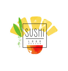 sushi logo design japanese food emblem badge for vector image