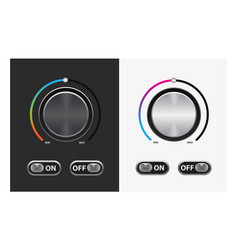 Switch round knob button on dark and white vector