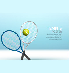 tennis banner background ball racket vector image