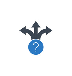 three-way direction arrow related icon vector image