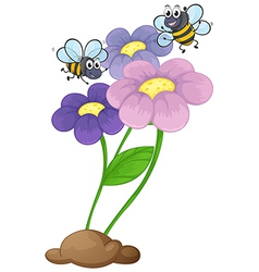Two bees near the blooming flowers vector image