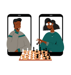 Two black people plays chess online vector