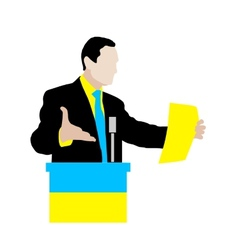 Ukrainian speaker delivers a speech at the podium vector