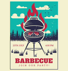 Vintage bbq grill party poster delicious grilled vector