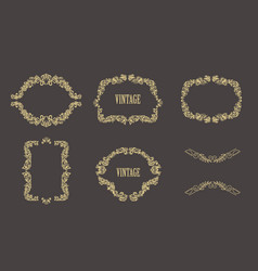 vintage floral frames set of gold borders vector image