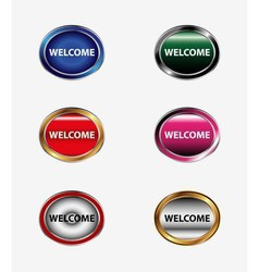 Welcome sign set vector