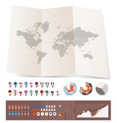 World map on old map and flags vector image