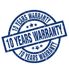 10 years warranty blue round grunge stamp vector image vector image