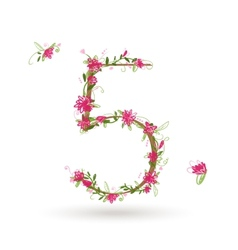 Floral number five for your design vector image