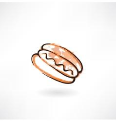 Hot dog grunge icon vector image