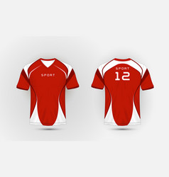 Red and white pattern sport football kits jersey vector