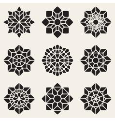 Set of Nine Black Decorative Mandala vector image