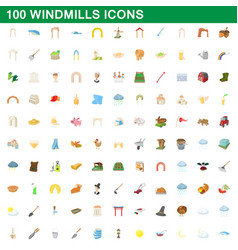 100 windmills icons set cartoon style vector image vector image