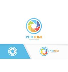 camera shutter logo combination lens vector image