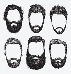 Hipster hair and beard set vector image vector image