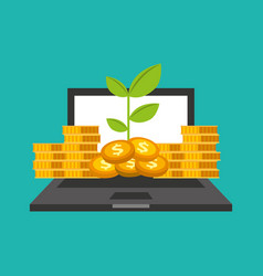 laptop computer with coins vector image