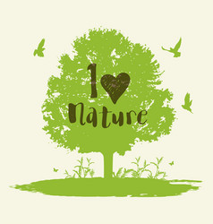 background with tree and birds vector image