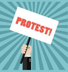 hand holding protest sign vector image