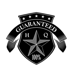 Retro guarantee label in black and white colors vector image