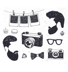 set of vintage styled design hipster stuff vector image vector image