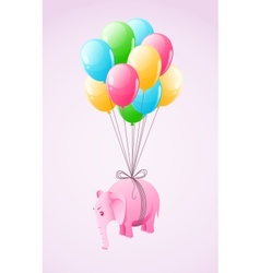 Small pink elephant flying vector image