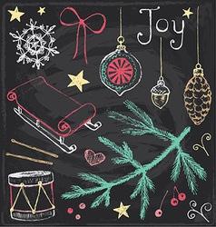 Vintage Christmas Chalkboard Hand Drawn Set 4 vector image vector image