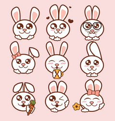 cute rabbits icons set sweet vector image