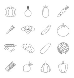 food icons set vegetables symbols line art healthy vector image vector image