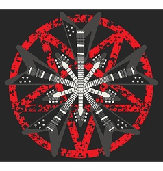 Guitar and Pentagram design vector image vector image
