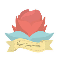 love you mom red flower ornament decoration vector image