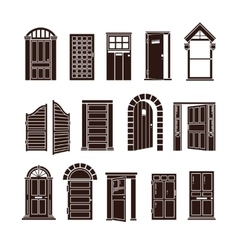 Open and closed door black icons set vector image