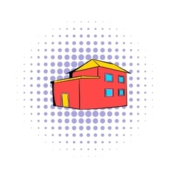 Red house icon comics style vector image vector image