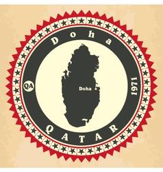 Vintage label-sticker cards of Qatar vector image