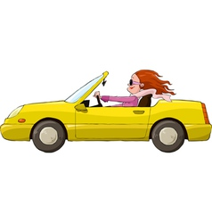 Woman in a car vector image vector image