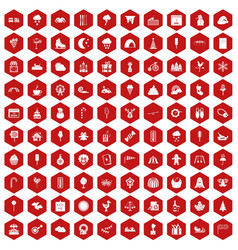 100 childrens parties icons hexagon red vector
