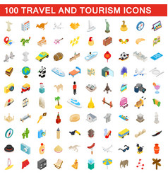 100 travel and tourism icons set isometric style vector